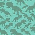 Dinosaur seamless pattern. Dino texture. Tyrannosaurus Rex Ornament. Prehistoric reptile pattern. Animal Jurassic with big teeth.