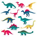Dinosaur set. Vector colorful flat illustration. Cute dino collection, kids design elements isolated on white background