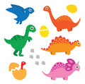 Dinosaur set on white background Stock Images
