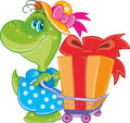 Dinosaur with shopping cute little dragon on a colored background Royalty Free Stock Photo