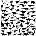 Dinosaur silhouette vector collection Royalty Free Stock Photo