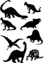 Dinosaur silhouettes Royalty Free Stock Photos