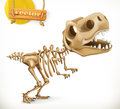 Dinosaur skeleton cartoon character. Funny animals vector icon Royalty Free Stock Photo