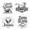 Dinosaur Vector Logo Set. Triceratops t-shirt illustration concept. Raptors college sport team insignia design template Royalty Free Stock Photo