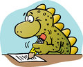Dinosaur writing Stock Image