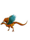 Dinosaurs archaeopteryx a beautiful is jumping Royalty Free Stock Images