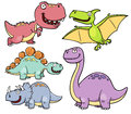 Dinosaurs cartoon vector illustration of characters Stock Image