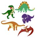 Dinosaurs collection of images of diffirent cartoon Stock Image