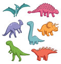 Dinosaurs cute cartoon vector collection Royalty Free Stock Photos