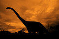Dinosaurs diplodocus dinosaur at its end Royalty Free Stock Photos