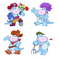Dinosaurs in fancy dress set of cartoon costumes of gardener pirate cowboy and indian white background Stock Photography
