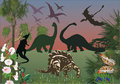 Dinosaurs in green forest Royalty Free Stock Photography