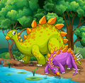 Dinosaurs living in the jungle