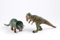 Dinosaurs models dinosaur toys isolated over white background Royalty Free Stock Photos