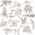 Dinosaurs no collection of an hand drawn illustrations description full sized hand drawn illustrations drawing on white background Royalty Free Stock Photo