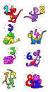 Dinosaurs with numbers a set of colorful icons from to and Royalty Free Stock Image