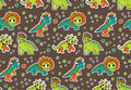 Dinosaurs objects seamless pattern.