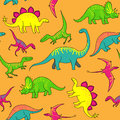 Dinosaurs pattern cartoon happy on yellow background funny seamless Stock Photos