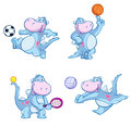 Dinosaurs playing sports set of cartoon dinosaur characters different ball games isolated on white background Royalty Free Stock Image