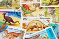 stock image of  Dinosaurs postage stamps background