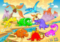 Dinosaurs rainbow in landscape funny cartoon and vector illustration Royalty Free Stock Photography