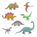 Dinosaurs set of cartoon funny characters happy Royalty Free Stock Image