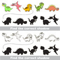 Dinosaurs set find correct shadow with shadows to the one compare and connect objects and their true shadows logic game for Stock Image