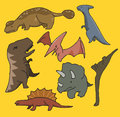 Dinosaurs set flat hand drawn vector illustration Stock Photography