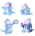 Dinosaurs using technology set of cartoon modern including tablets and mobile telephones Royalty Free Stock Image
