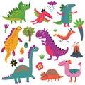 Dinosaurs vector set Royalty Free Stock Photo