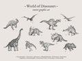 Dinosaurs vintage vector illustration set