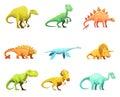 Dinosaurus Retro Cartoon Characters Icons Collection