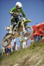 Diogo graca motocross portugal takes to a jump during the national championships in mocarria on june Stock Image