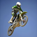 Diogo graca motocross portugal takes to a jump during the national championships in mocarria on june Royalty Free Stock Image