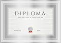 Diploma сertificate award template frame certificate of completion design background with silver frames medal of achievement Royalty Free Stock Photography