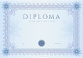 Diploma сertificate award template pattern certificate of completion design background with guilloche watermark rosette border Royalty Free Stock Photos
