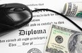 Diploma cash high school or college and mouse with Royalty Free Stock Images