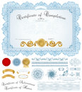 Diploma certificate background with blue border horizontal of completion template guilloche pattern watermarks borders medal Stock Photo