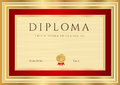 Diploma certificate template with red border horizontal or guilloche pattern watermarks gold and this background design usable for Stock Image
