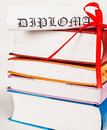 Diploma red ribbon books Royalty Free Stock Images