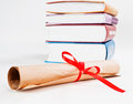 Diploma red ribbon books Stock Photo