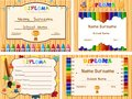Diploma templates with wooden board and color pencils