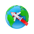 Direct flight flights to the globe background Stock Photography