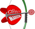 Direct marketing bow arow target new customers prospects words on an arrow pulled back on a and aiming at and through advertising Royalty Free Stock Photography