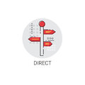 Direct Signboard Arrow Icon