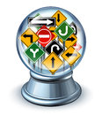 Direction forecast business concept as a glass crystal ball with a group of confused traffic road signs as a symbol of future Stock Photography
