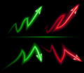 Direction of inflation and deflation the red green neon on a black background Stock Photography