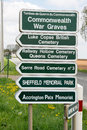 Direction sign for commonwealth war graves roadside signs the many on the serre road where many died during the first days of the Royalty Free Stock Photos