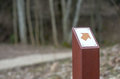 Direction sign in the forest pathway in lithuanian forests Stock Photos