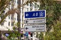 Direction signs in the city of Cannes France Royalty Free Stock Photo